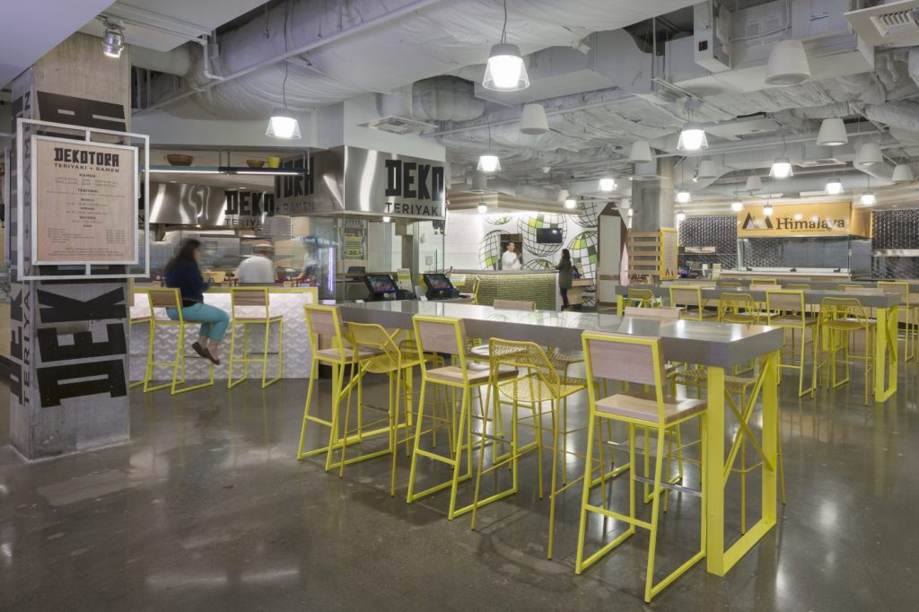 Brady Barstools in yellow, Microsoft's 36 Cafe