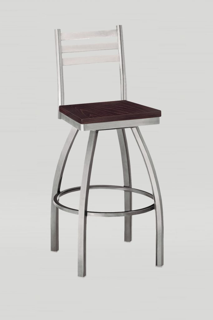 Ladderback Swivel Barstool in Sparkle Silver and Kona