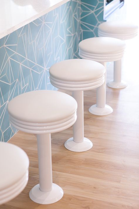 Rosie Barstools in Gloss White with White Vinyl