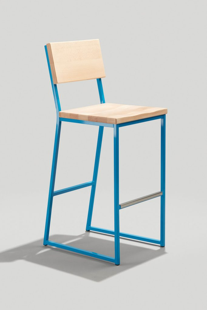 Brady Barstool in Sky Blue and Natural