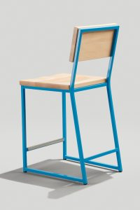 Back of Brady Counter Stool in Sky Blue and Natural