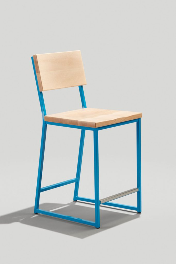 Brady Counter Stool in Sky Blue and Natural