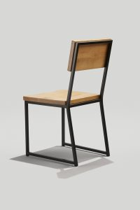 Brady Chair in Ink Black and Honey - Back Angle