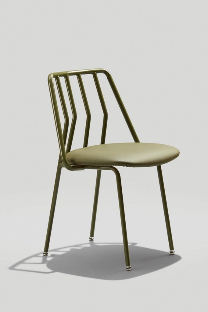 Leo Chair in Olive Green with Olive Maharam Micro Dot Upholstered Seat