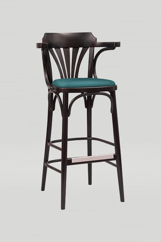 Bentwood No. 25 Barstool in Kona with Upholstered Seat