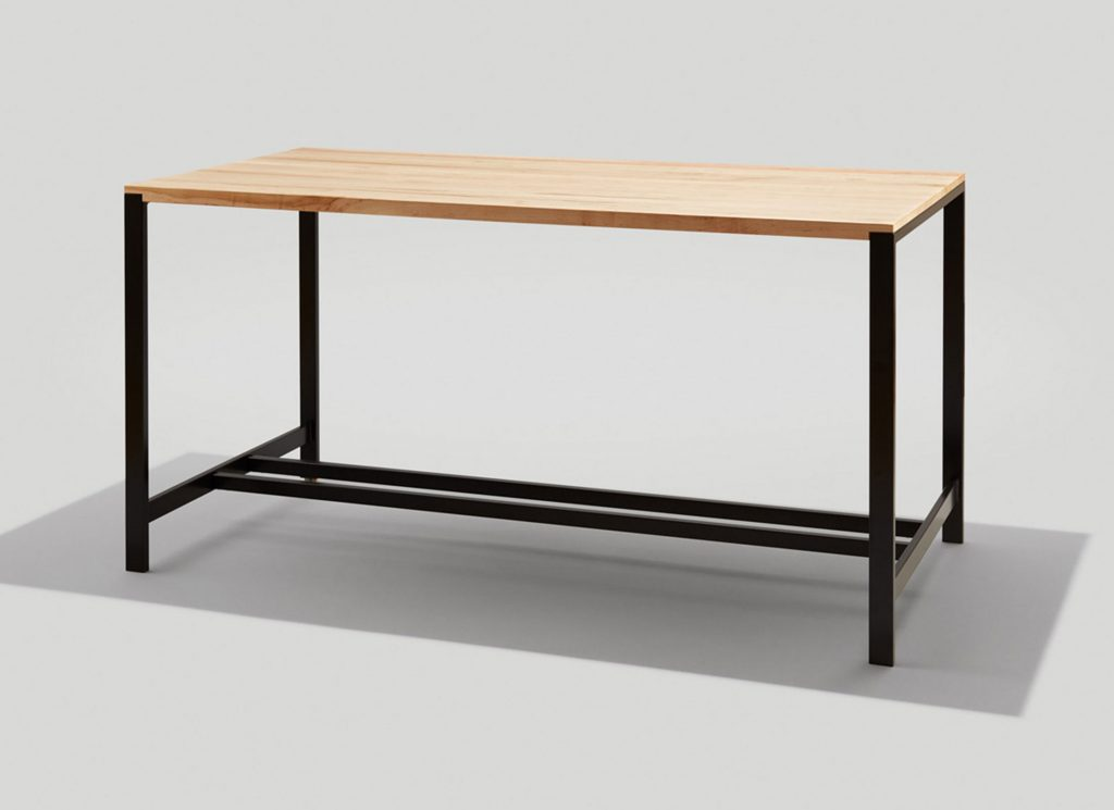 Brady Communal Table Bar Height with Maple top and Ink black frame