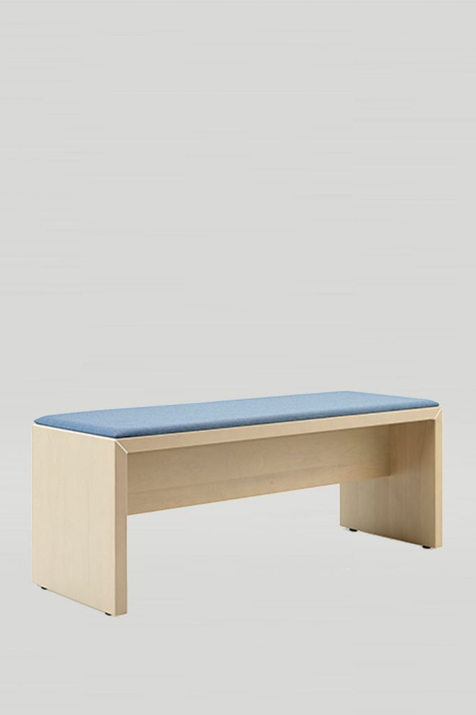 Dylan Bench in Aspen with Upholstered Blue Seat
