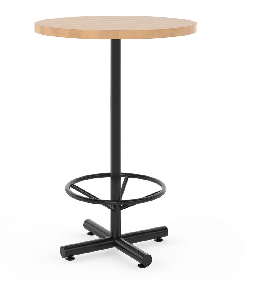 Bar height restaurant table with foot ring