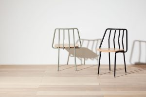 Leo Chair in Pebble and Ink Black with Natural Seats