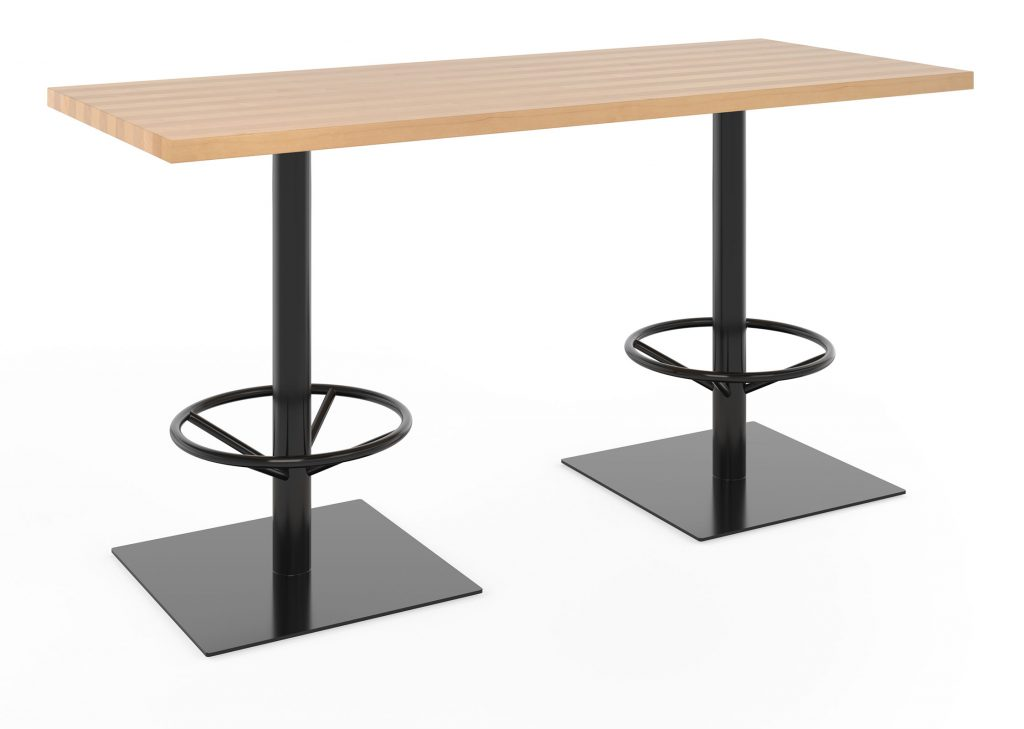 Bar height restaurant table with double bases and foot rings