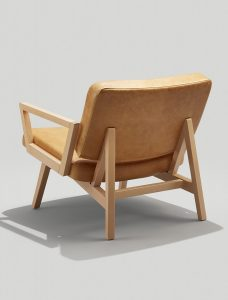 Back of Andy Lounge Chair with Arms in Camel Colored Leather