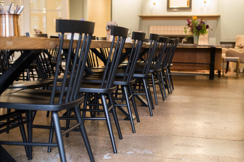 Hugh Chairs in Black at Lynn Hall