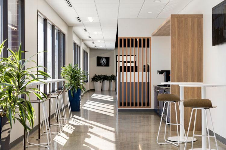 Harper X-Base Barstool In an office designed by Vela Creative