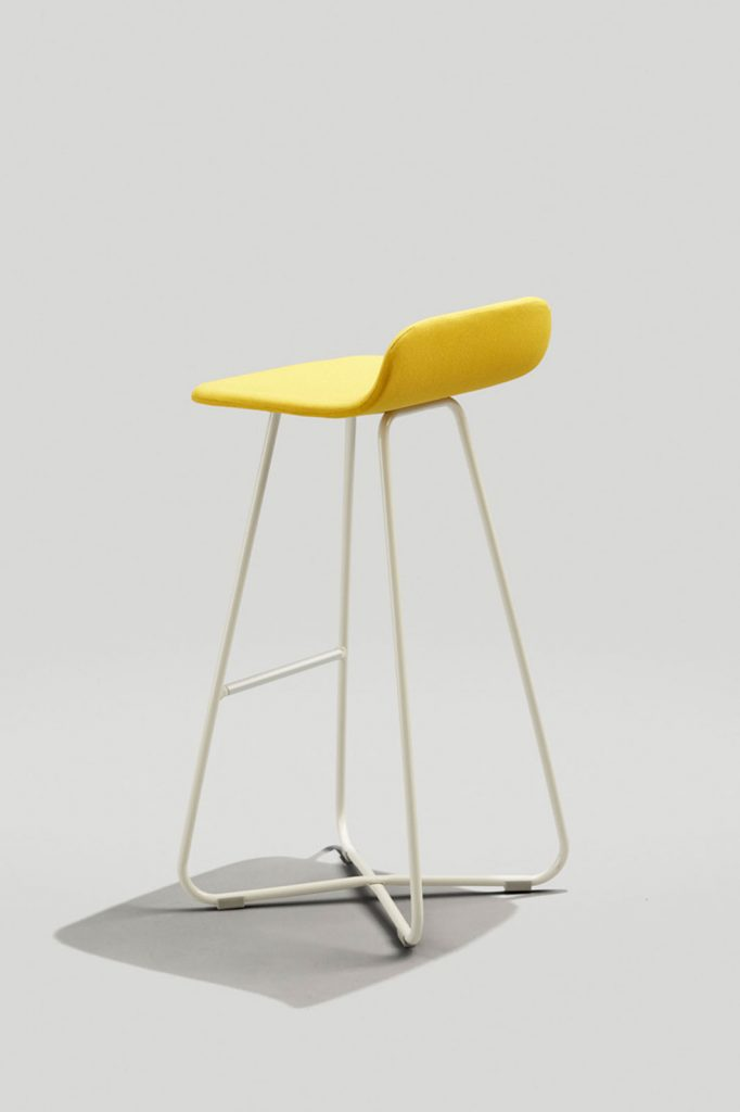 Harper X-Base Barstool in Grey White and Yellow Upholstery