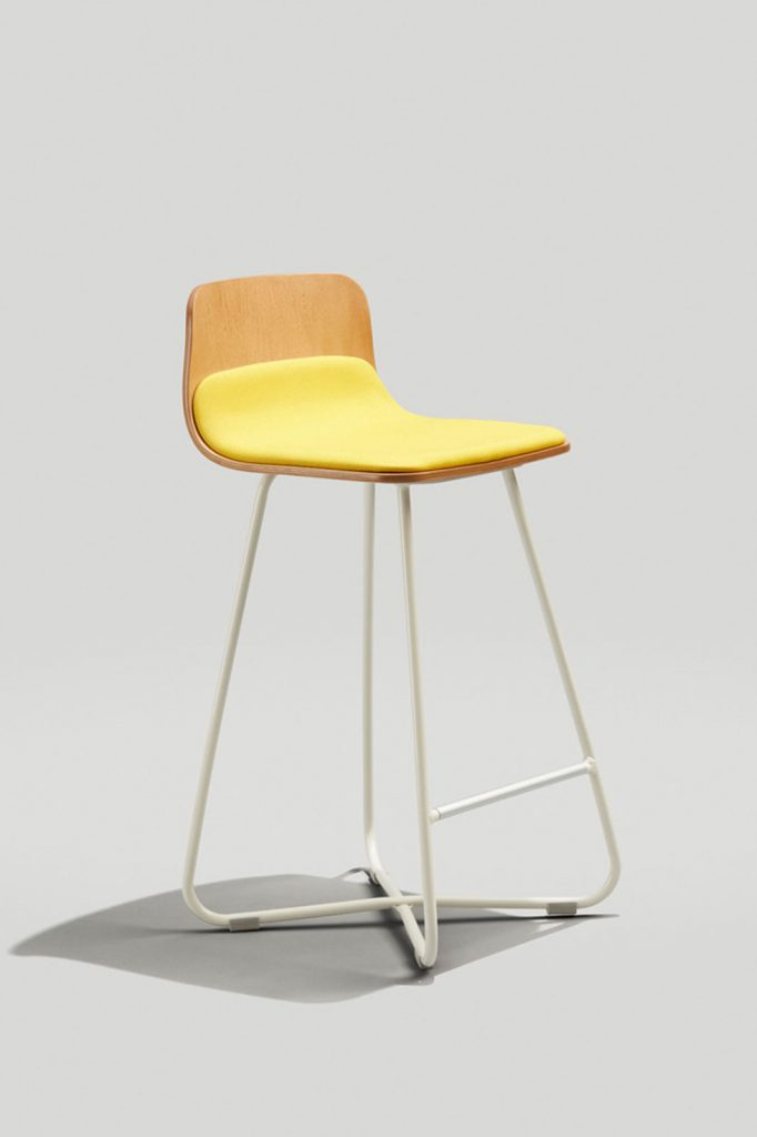 Harper X-Base Counter Stool in Grey White, Honey, and Yellow Fabric