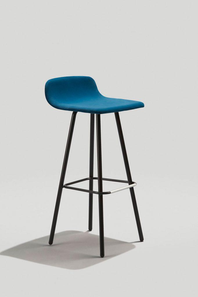Harper Barstool in Ink Black and Blue Velvet, Fully Upholstered