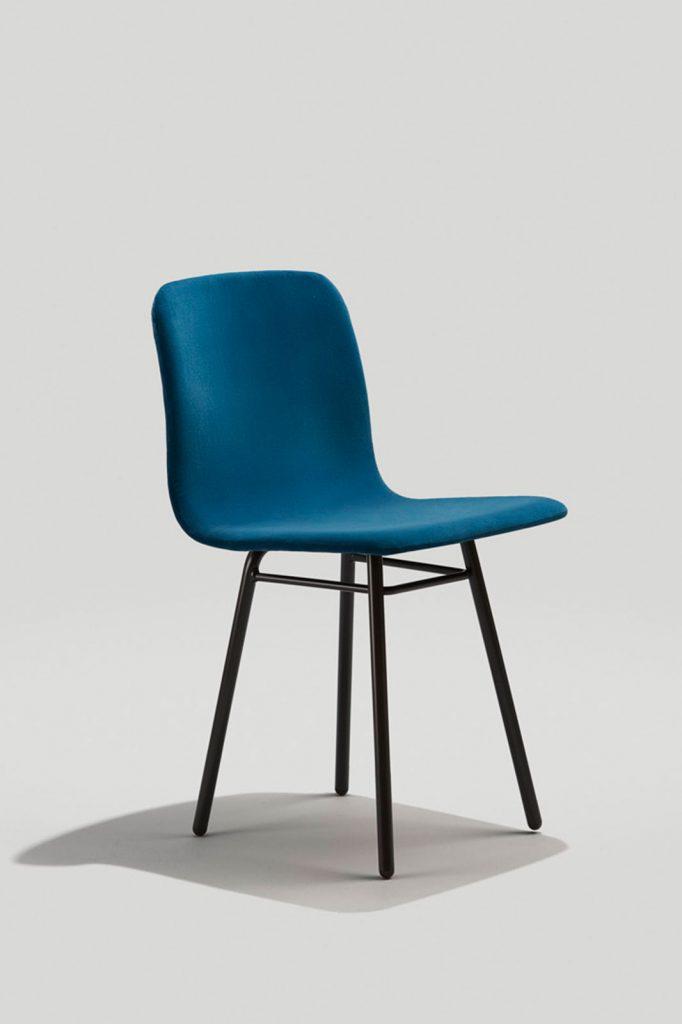 Harper Dining Chair in Ink Black and Blue Velvet