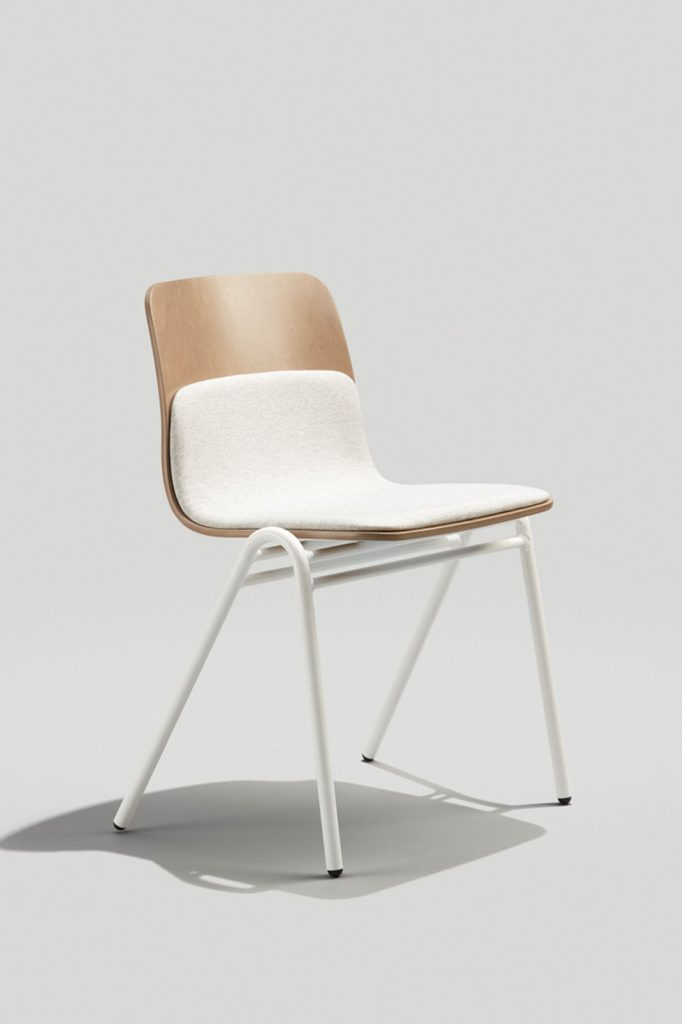 Harper A-frame Stacking Chair in Gloss White, Driftwood and Grey White Camira Fabric