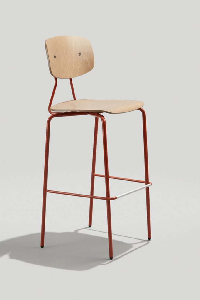 Reece Industrial Barstool In Copper Brown and Driftwood