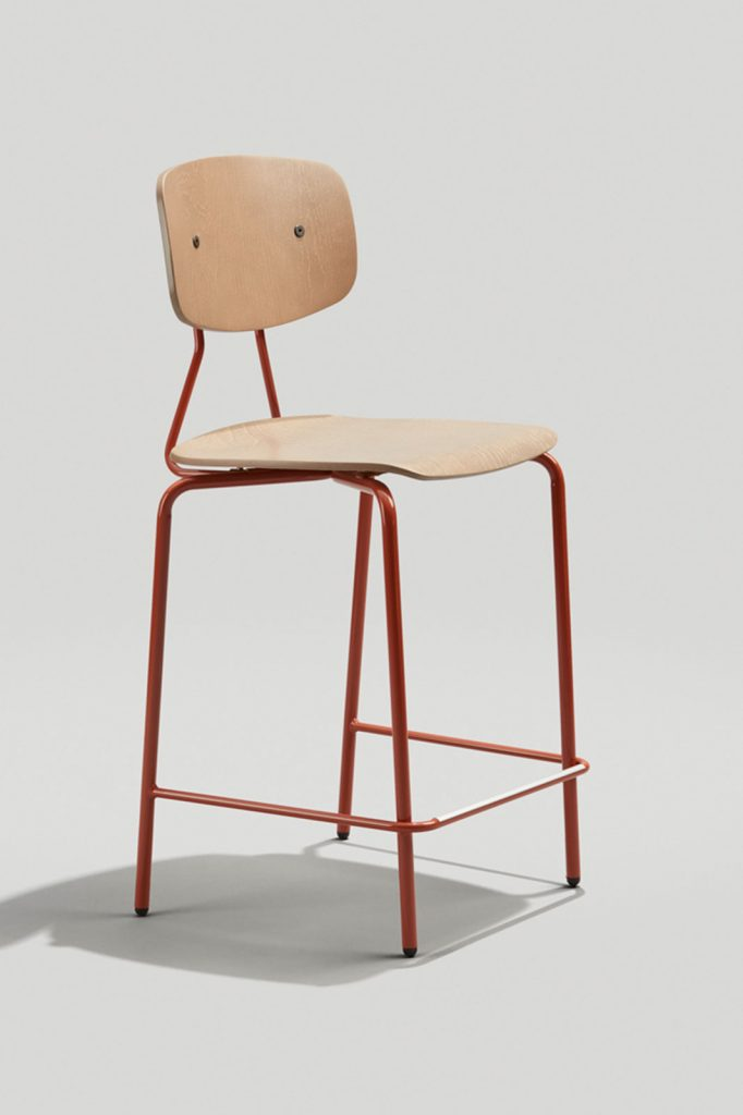 Reece Industrial Counter Stool in Copper Brown and Driftwood