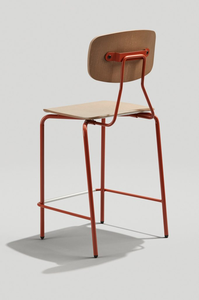 Reece Counter Stool in Copper Brown and Driftwood Back