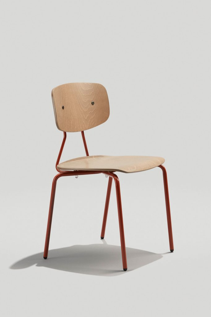 Reece Stacking Chair in Copper Brown and Driftwood