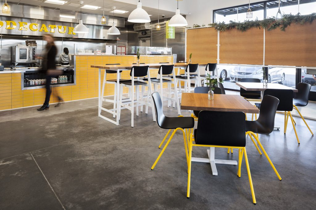 Harper A-frame Chairs in Gusto! Shown in Black and Traffic Yellow