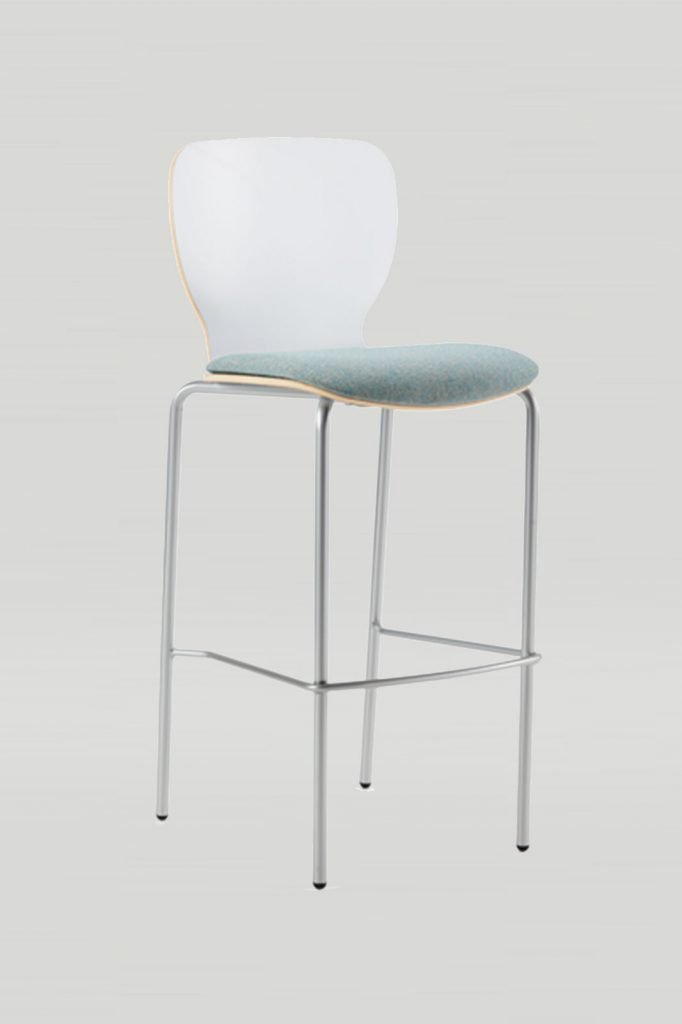 Felix Jr Barstool in White Laminate and Sparkle Silver Frame with Upholstered Seat