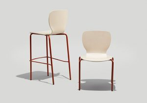 Felix Jr Chair and Barstool in Parchment and Copper Brown