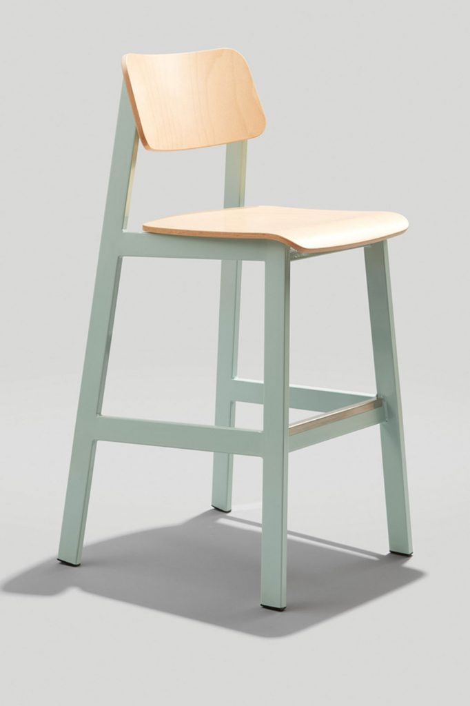 Sadie II Barstool in Dusty Blue and Natural