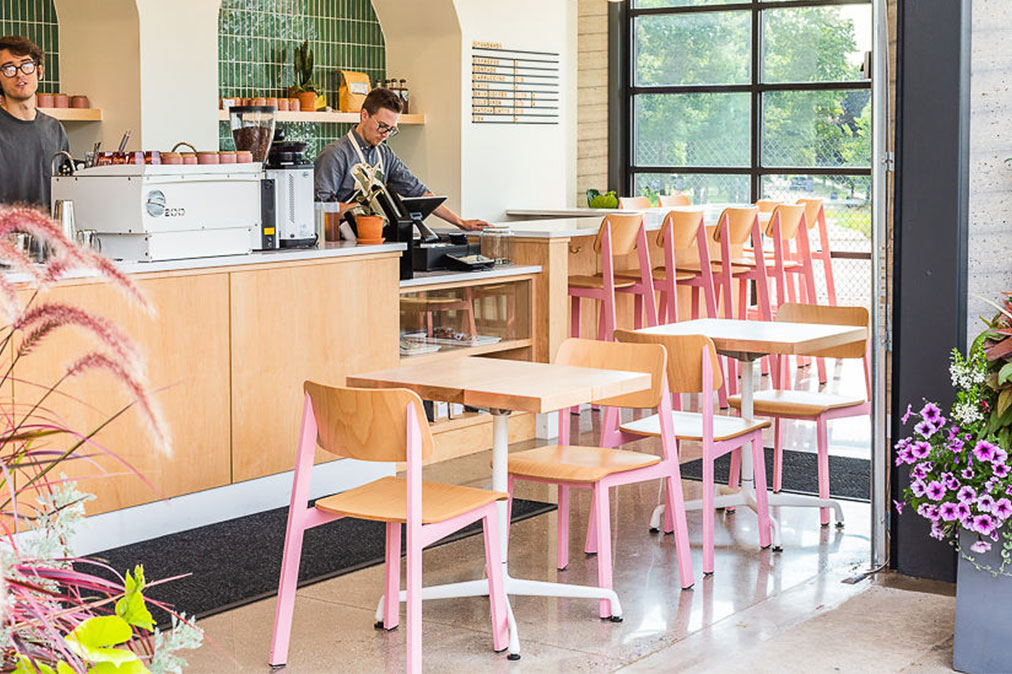 Sadie Restaurant Chair in Pink and Natural in modern coffee shop
