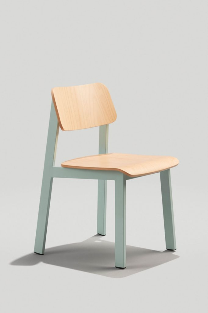 Sadie II Indoor Chair in Dusty Blue and Natural