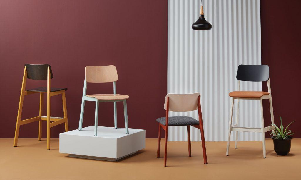 Row of Sadie II Chairs and Barstool