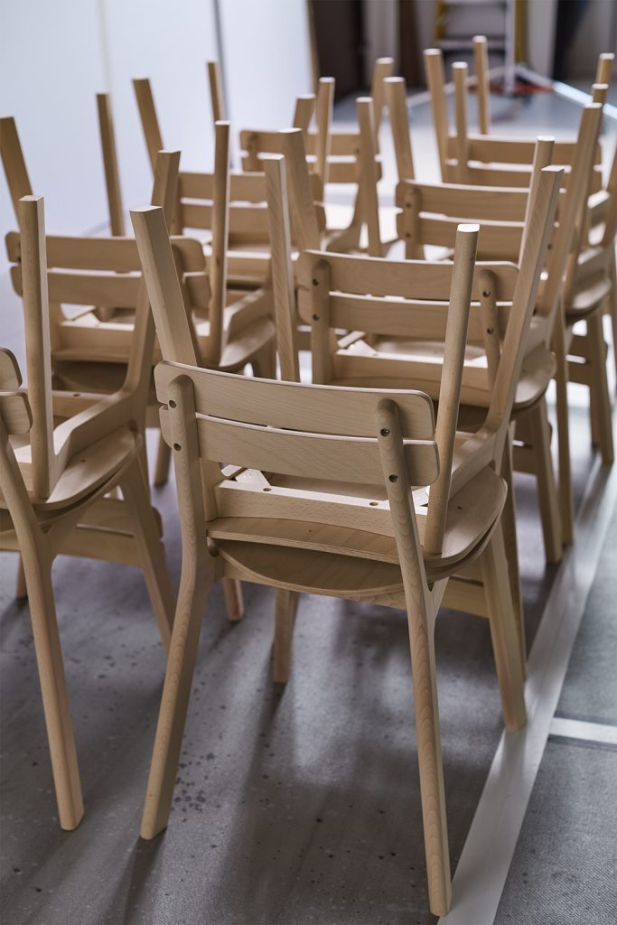 Stack of Brooke Chair in factory