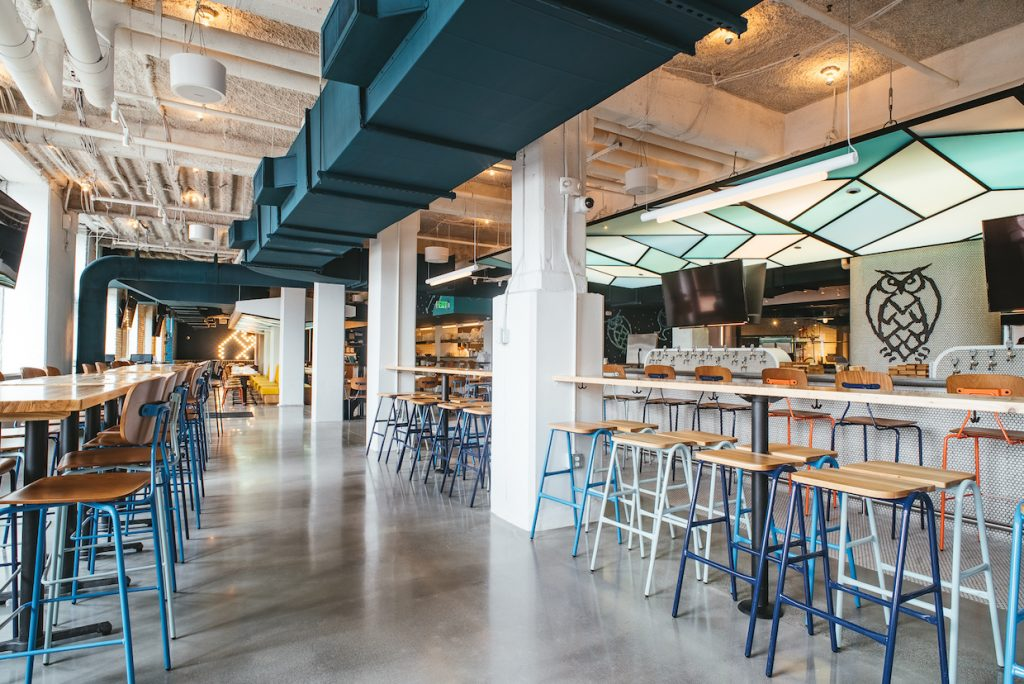 Hurdle and Reece Barstools in an array of blue colors at Love Joy Brewery