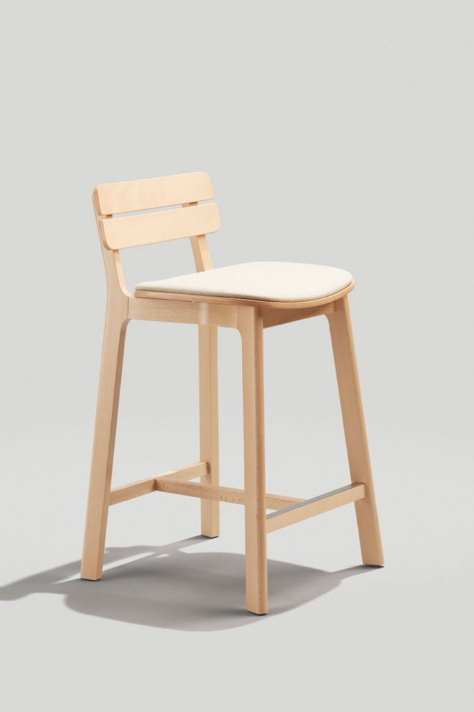 Brooke Counter Stool in Natural with upholstered Seat Pad