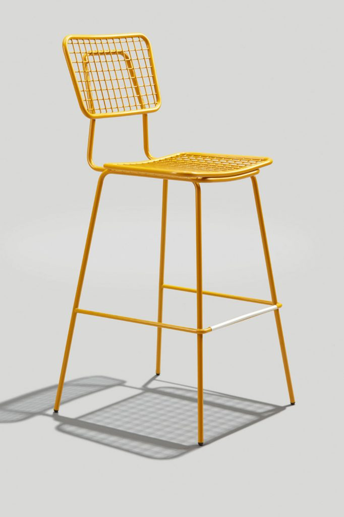 Opla Outdoor Barstool In Honey Yellow