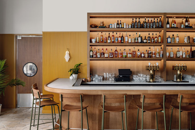 Modern Restaurant Bar Stool in Olive Green and Acorn Wood Stain