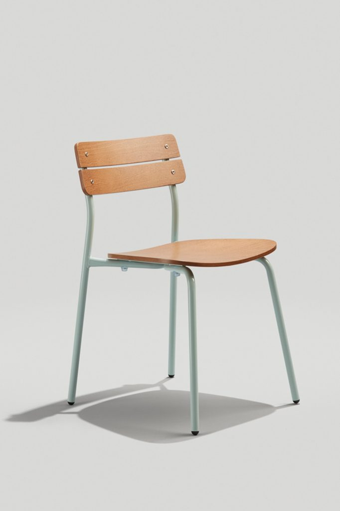 Sherman Stacking Chair in Dusty Blue and Acorn