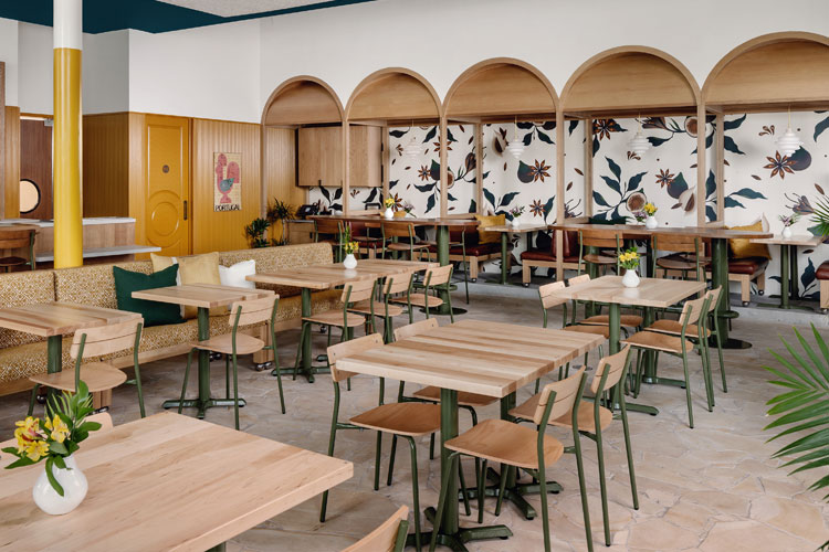 Olive Green Dining Chairs, Bar Stools, Arches in a cafe