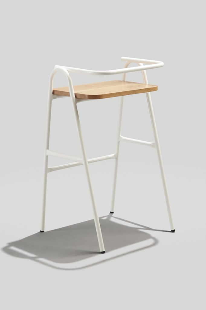 Modern Barstool, Half Hurdle Barstool in White and White Oak