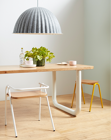 Modern Communal Table with unique metal base