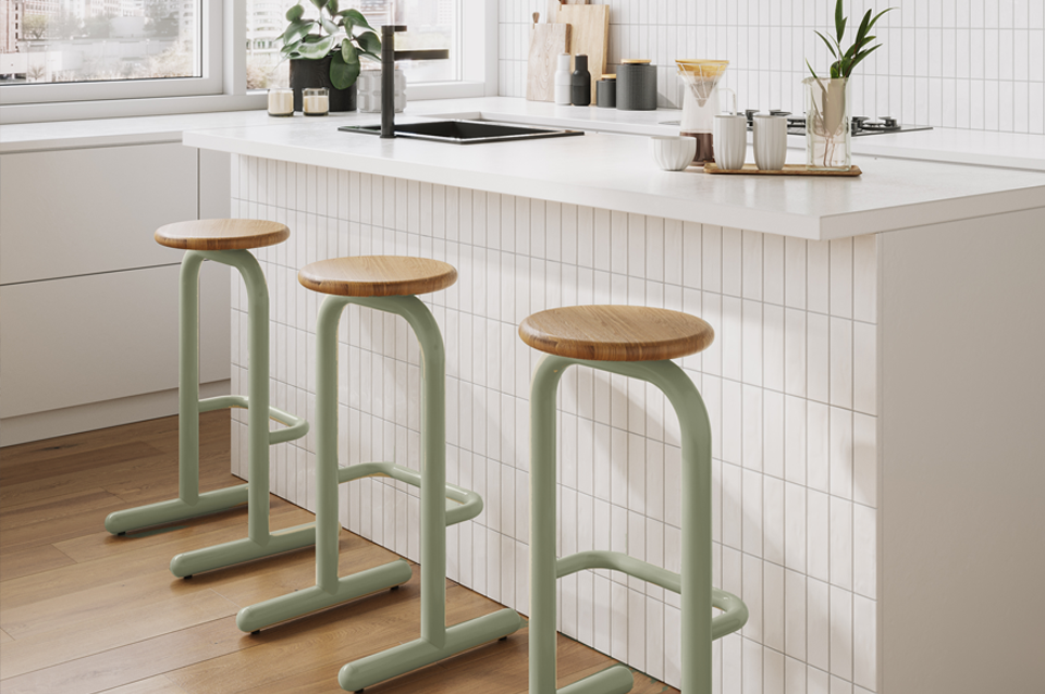 Sir Burly Barstools in Light Green at Office Cafe