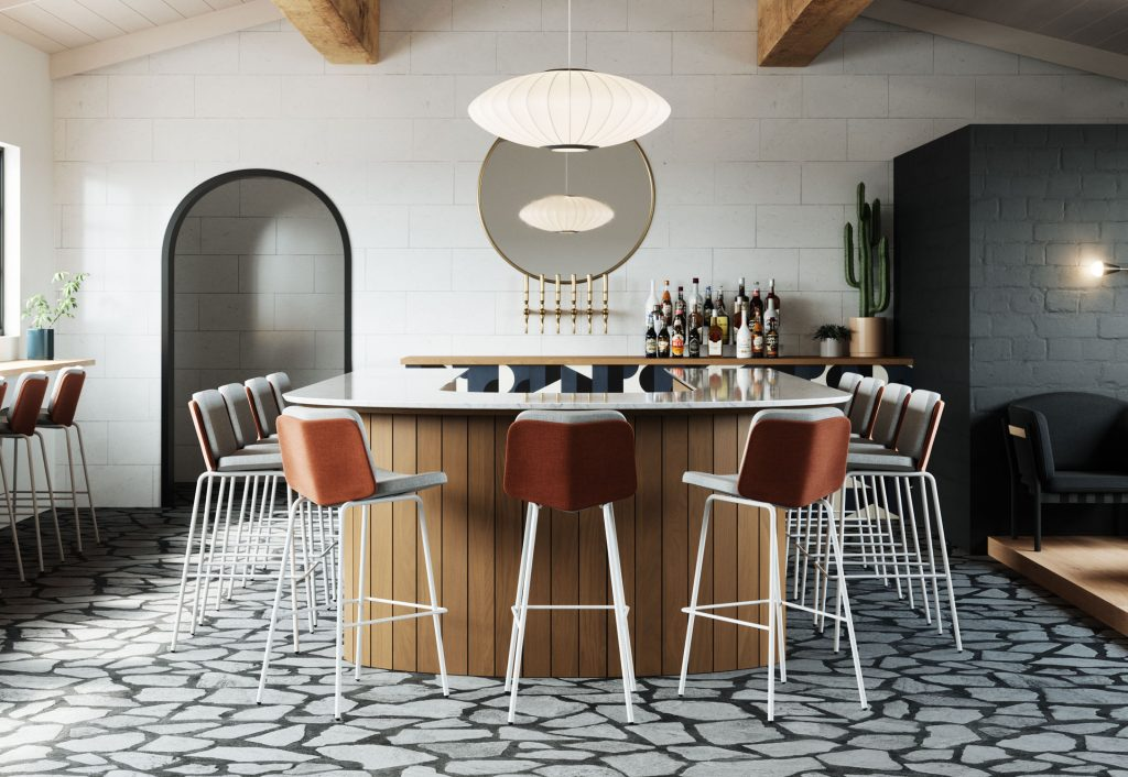 Modern Uphosltered Barstool in California Bar