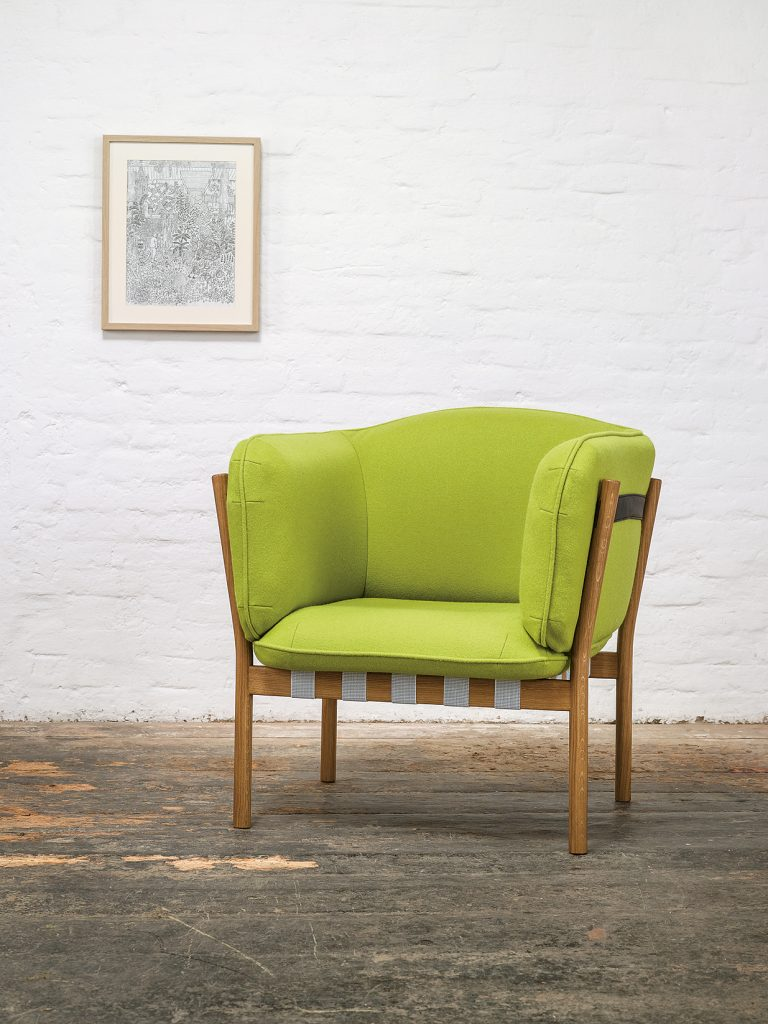 Arm Chair with White Oak Frame and Lime Green Fabric