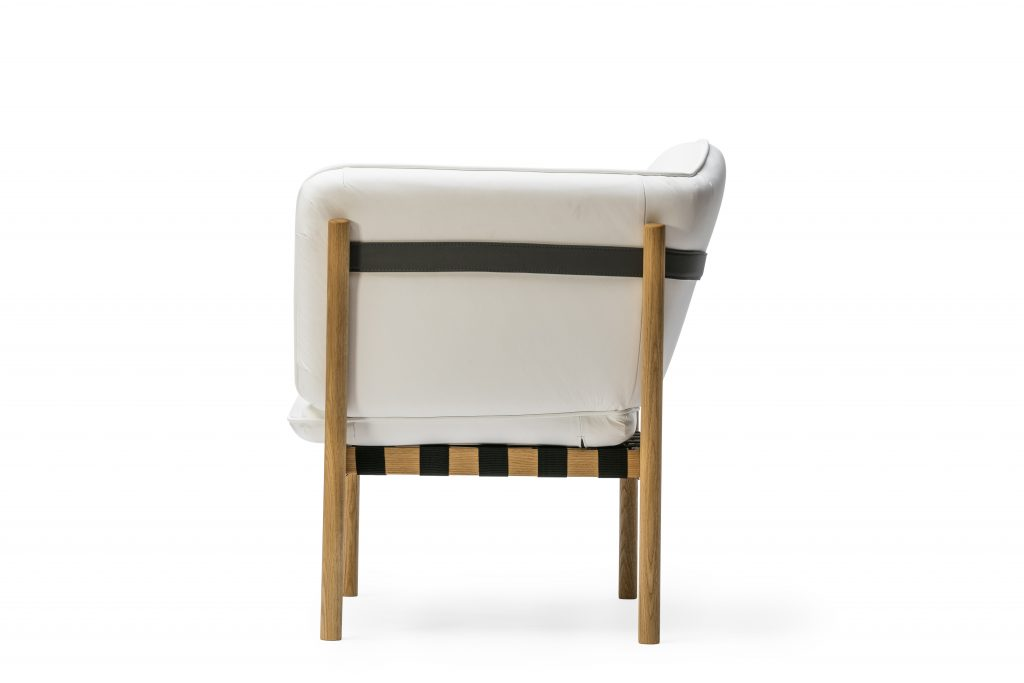 Arm Chair lounge with white leather upholstery and white oak frame