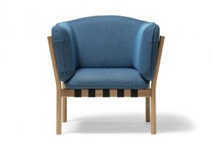 Lounge Chair with white oak frame and blue fabric