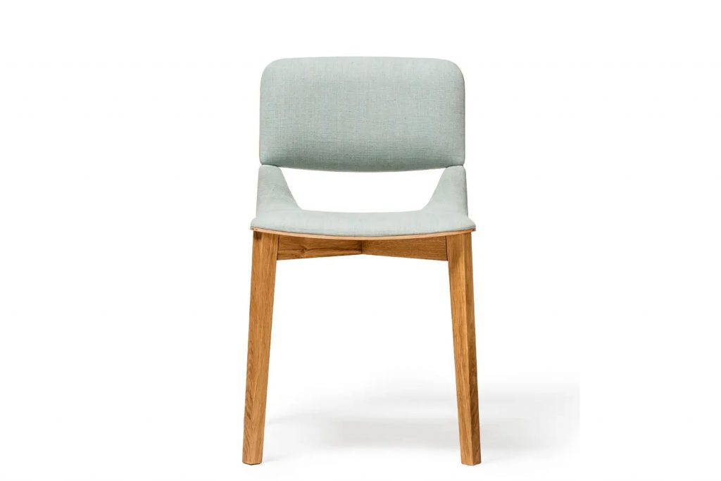 Upholstered modern wood dining chair in oak