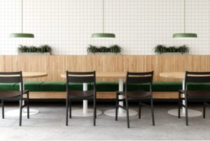 Modern Wood Dining Chair in Cafe