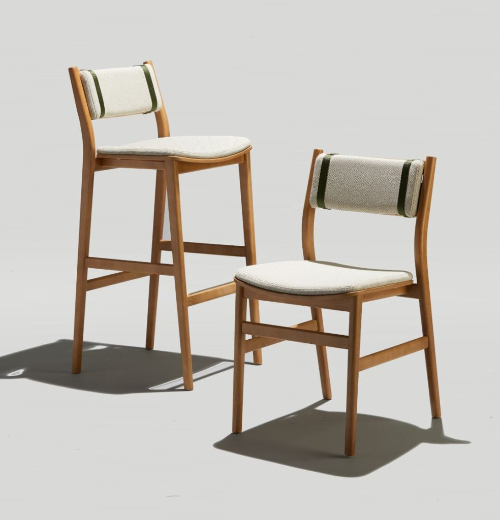Modern Wood Dining Chair and Bar Stool with Upholstered Seat and Back